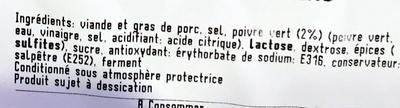 rosette poivre vert pur porc tranchée sans peau - Ingrédients - fr