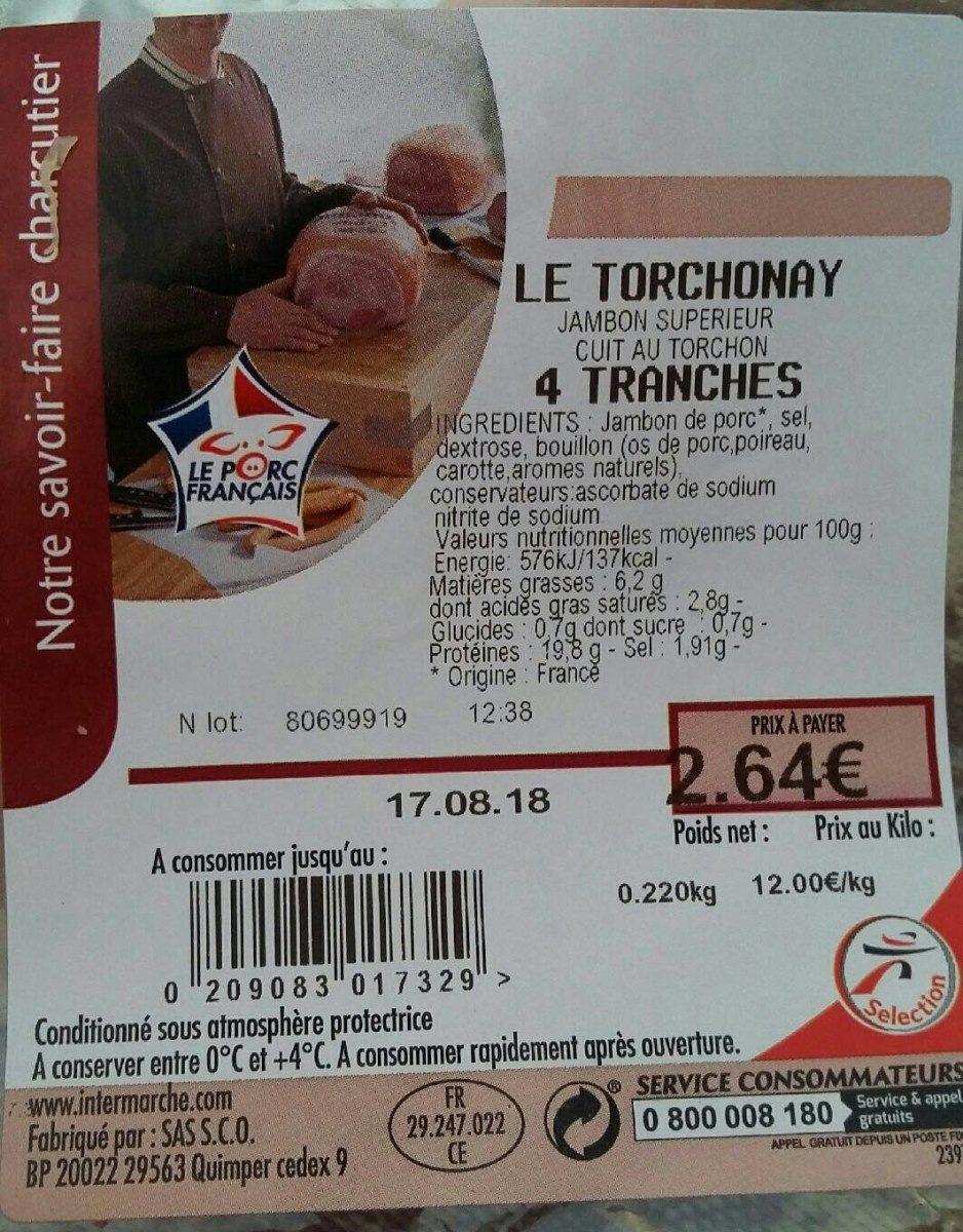 Jambon supérieur cuit au torchon - Produit - fr
