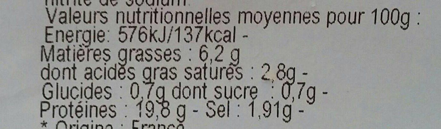 Jambon supérieur cuit au torchon - Informations nutritionnelles - fr