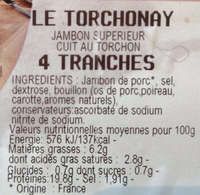 Le torchonay - Nutrition facts - fr