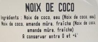 Noix de Coco - Ingredients