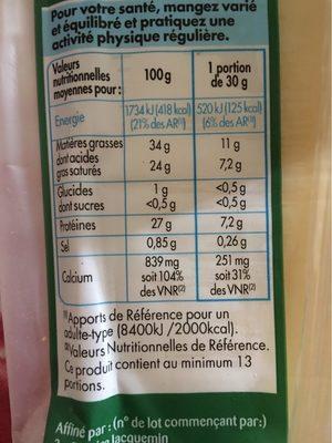 Comté paturage au lait cru affinage 6 mois - Informations nutritionnelles - fr