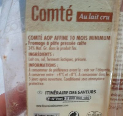 Comté Lait cru - Ingrédients - fr