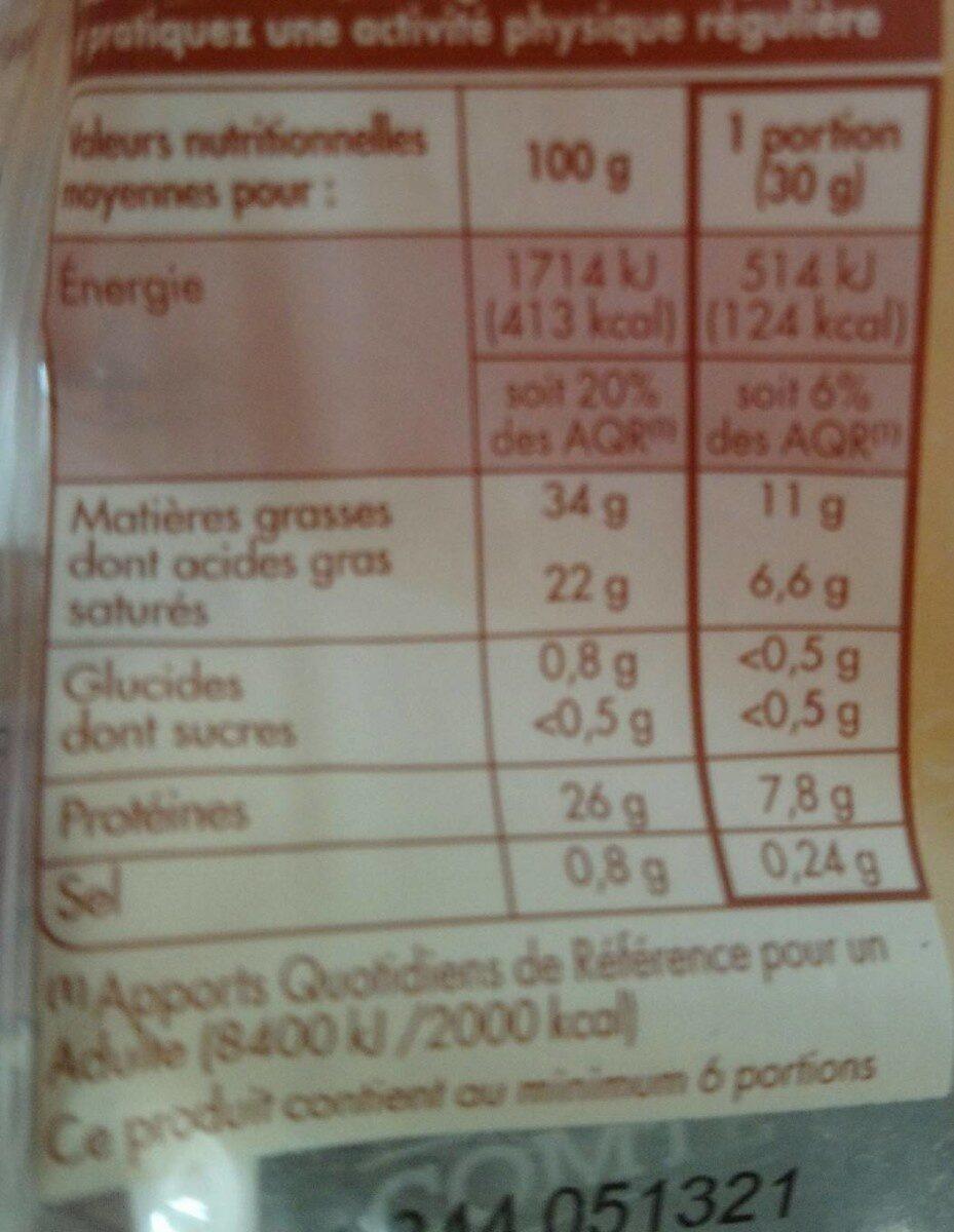 Comté Lait cru - Informations nutritionnelles - fr