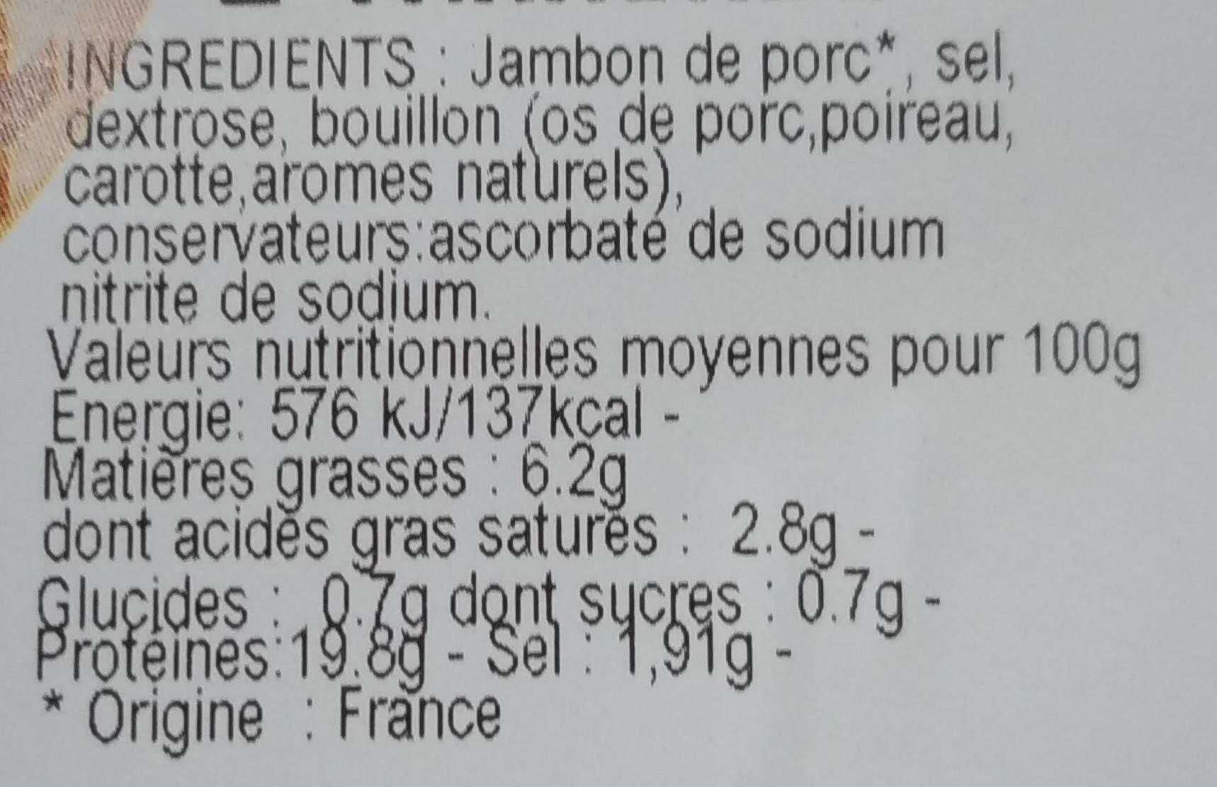 Jambon supérieur cuit au torchon - Voedingswaarden - fr