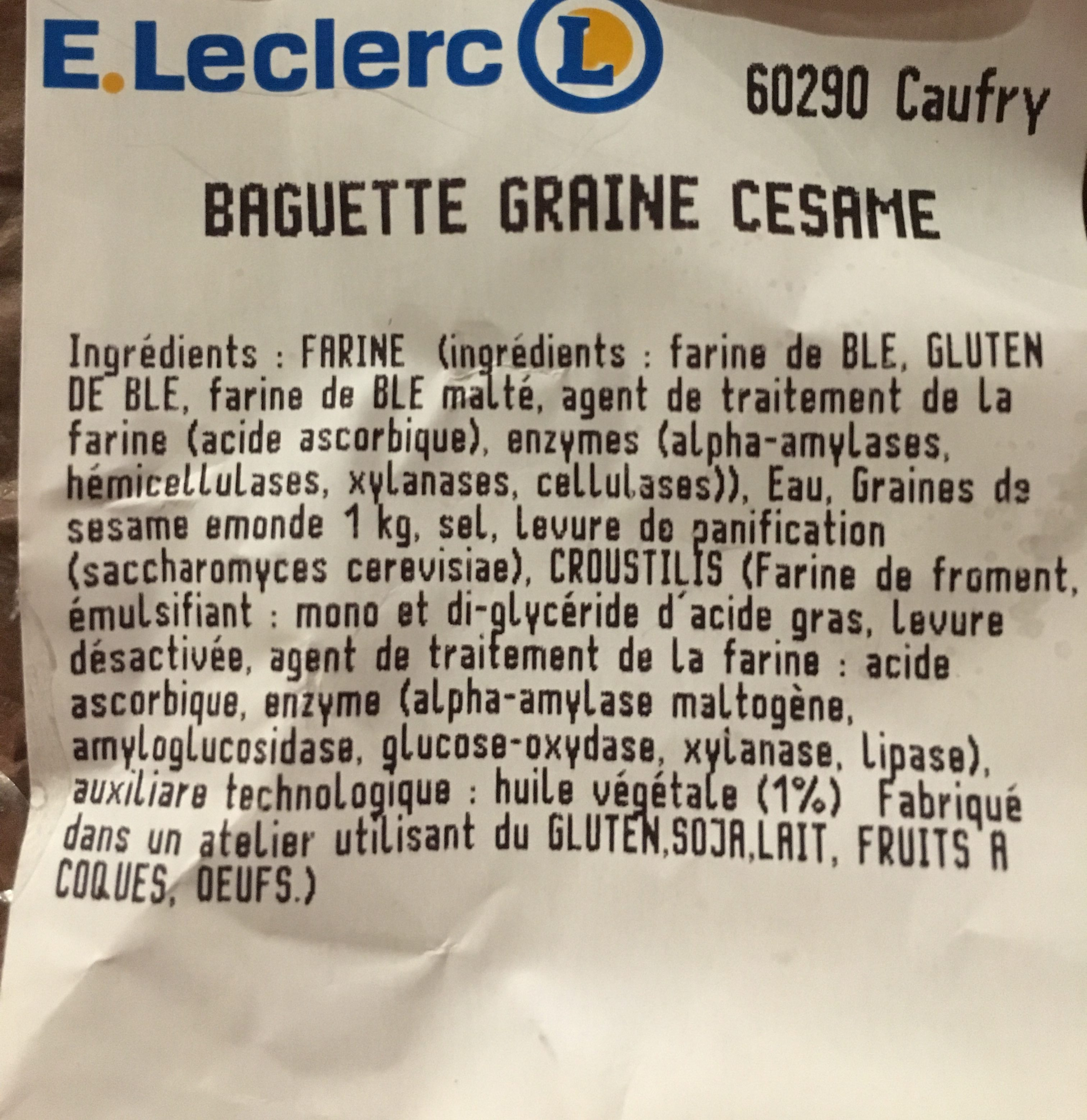 Baguette Graine Cesam - Ingrédients