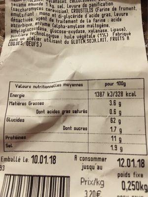 Baguette Graine Cesam - Informations nutritionnelles