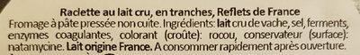 Raclette au lait cru fabriquée en Franche-Comté - Ingrédients