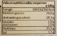 Raclette au lait cru fabriquée en Franche-Comté - Informations nutritionnelles