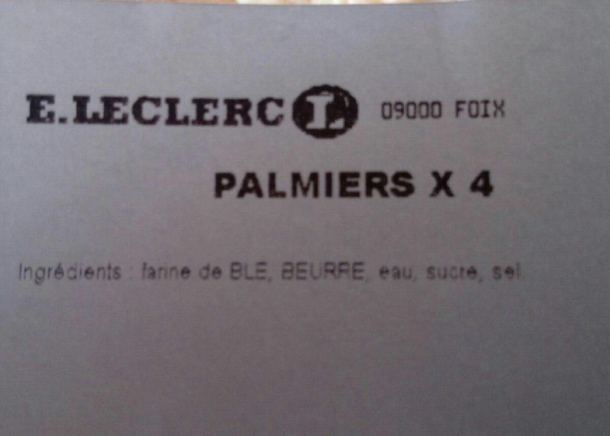 Palmiers x4 - Ingrédients