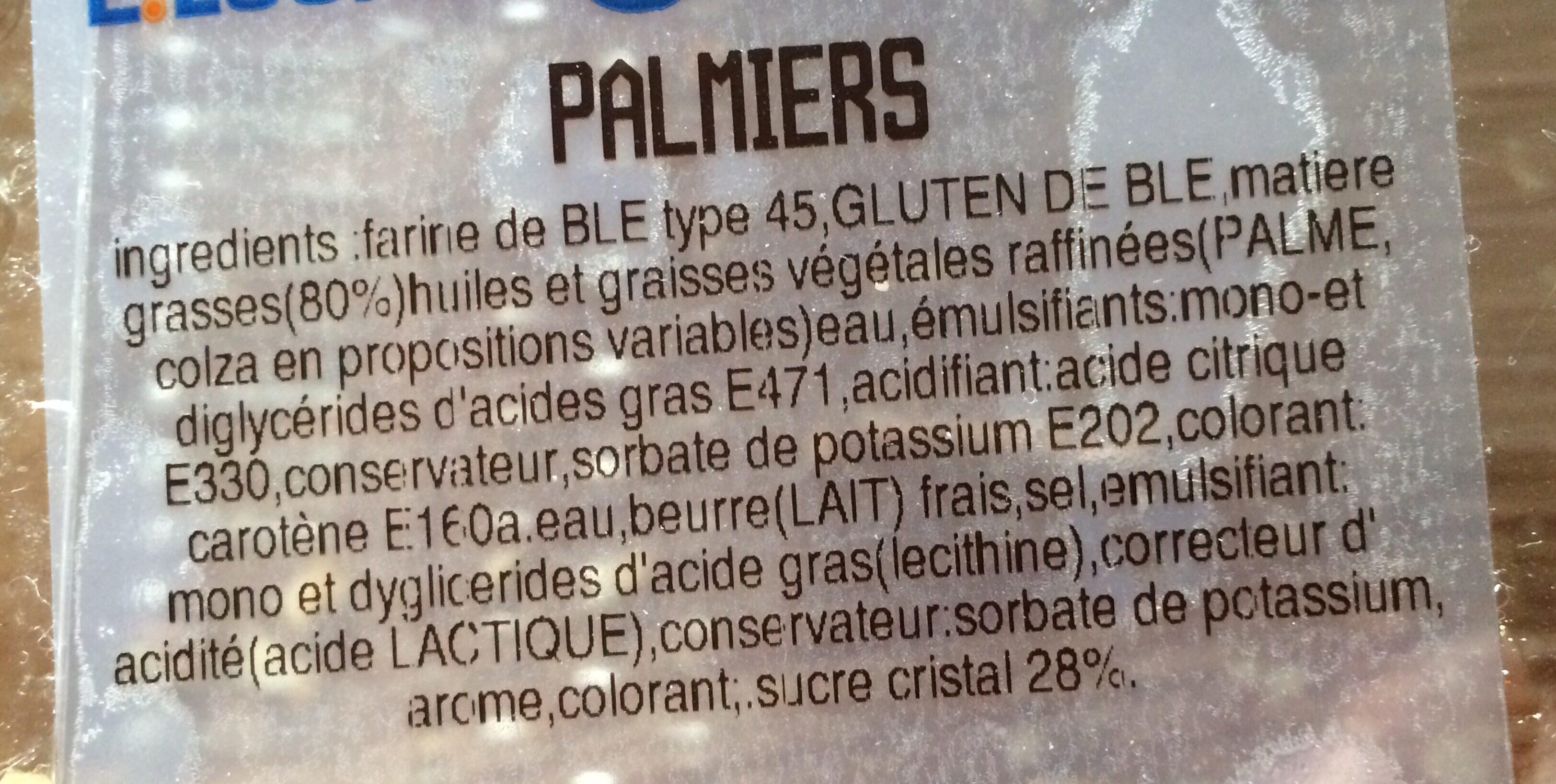 Palmiers - Ingrediënten - fr