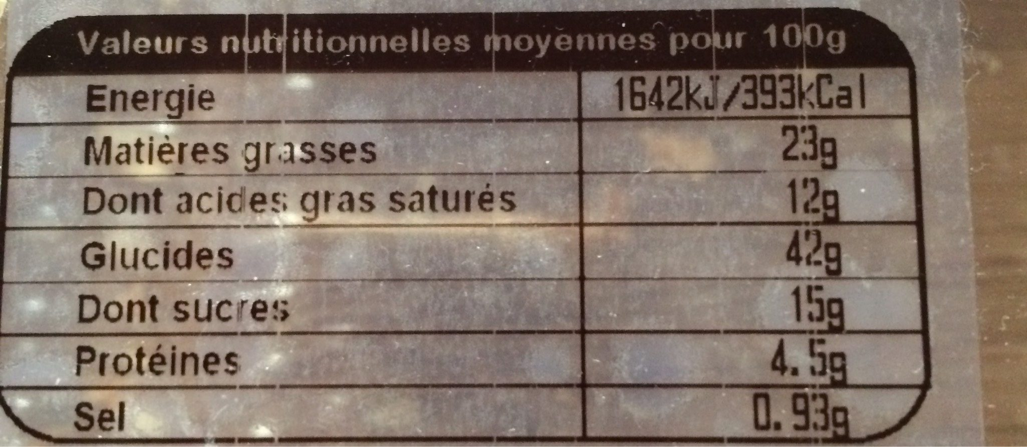 Palmiers - Voedingswaarden - fr