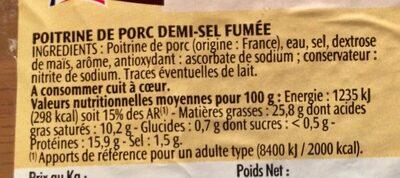 Poitrine Fumée - Ingredients - fr
