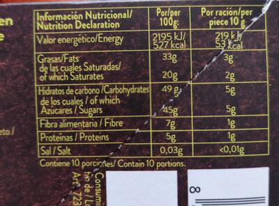 chocolate negro con maca y jengibre - Informations nutritionnelles - es