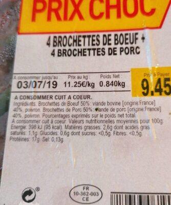 Brochette bœuf et porc - Nutrition facts