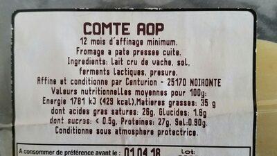Comte AOP - Ingrediënten