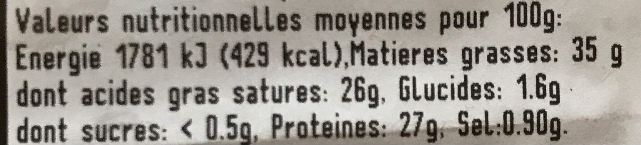 Fromage comté - Valori nutrizionali - fr