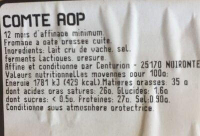 Comte AOP - Valori nutrizionali - fr