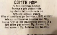 Comté - Valori nutrizionali - fr