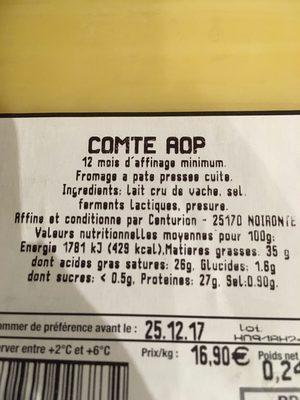 Comte aop - Ingredienti - fr