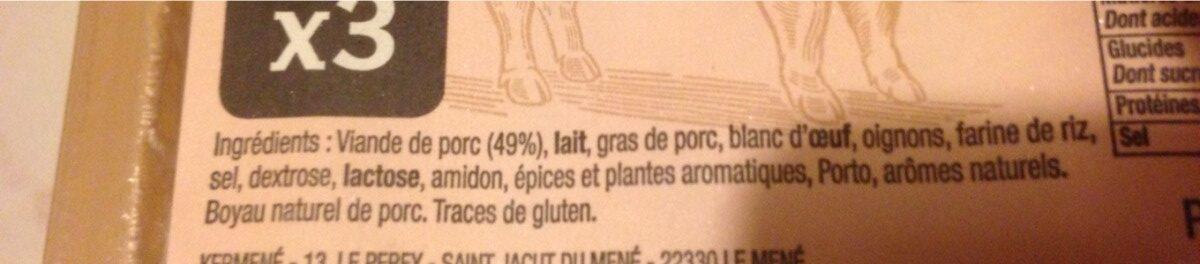Boudin blanc a l ancienne - Ingrédients - fr