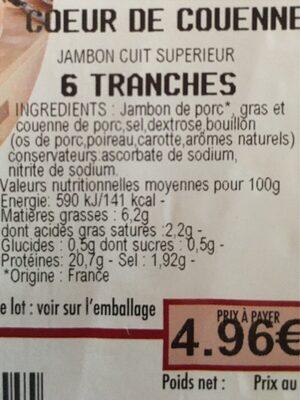Jambon intermarche coeur de couenne - Voedingswaarden - fr