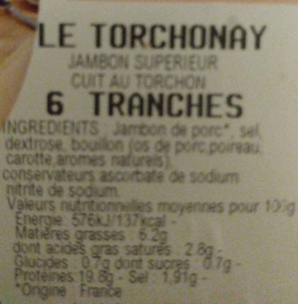 Le torchonay 6 tranches - Nutrition facts