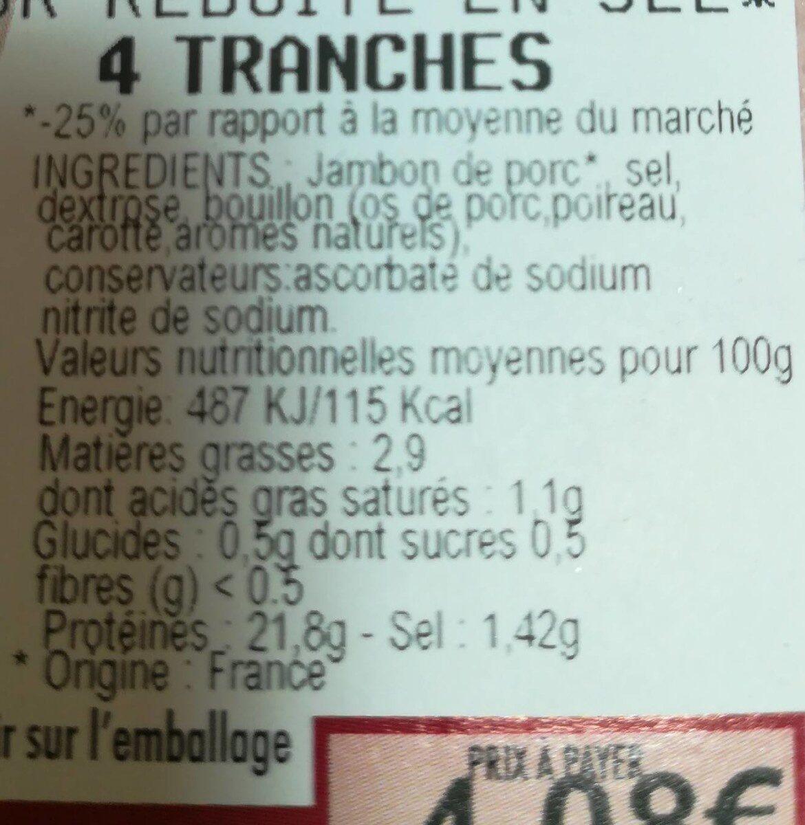 Jambon cuit supérieur - Voedingswaarden - fr