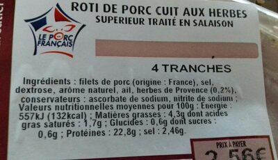 Rôti de porc cuit aux herbes - Ingredients - fr