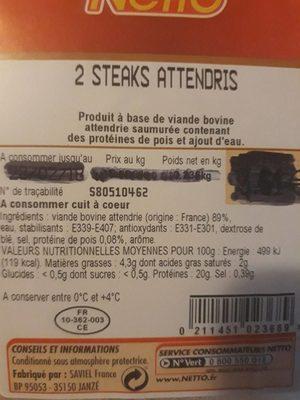 De steak attendri viande bovine - Product
