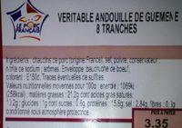 Véritable andouille de guémené - Voedingswaarden