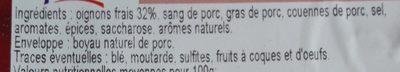 Boudin noir aux oignons - Ingredients
