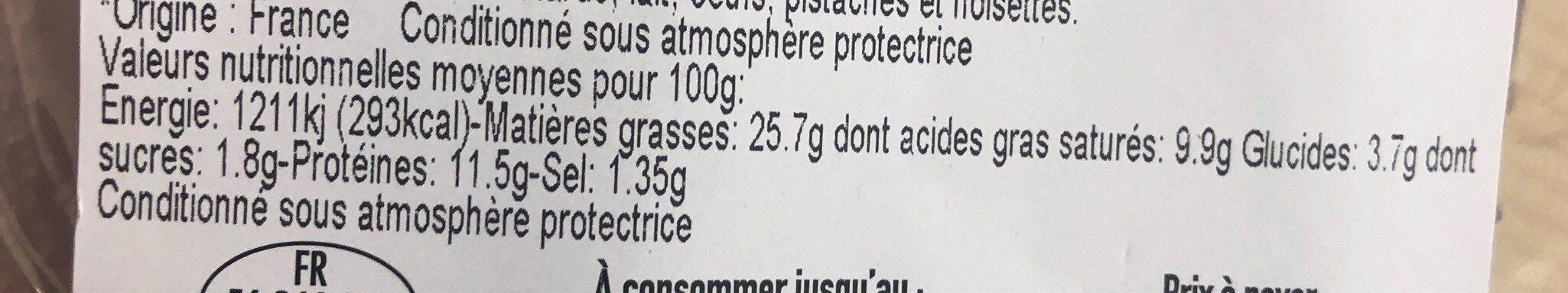 Boudin noir aux oignons x2 - Informations nutritionnelles - fr