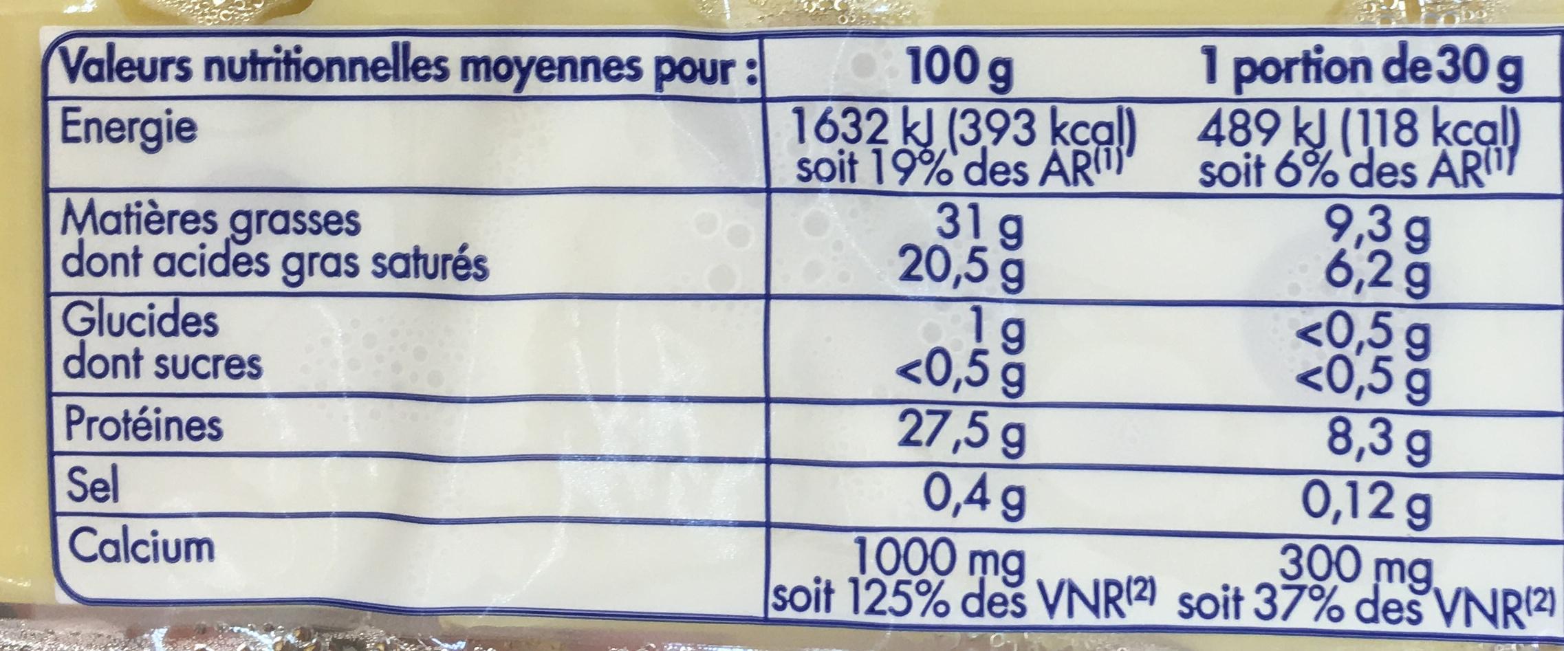 Emmental au lait cru - Informations nutritionnelles - fr