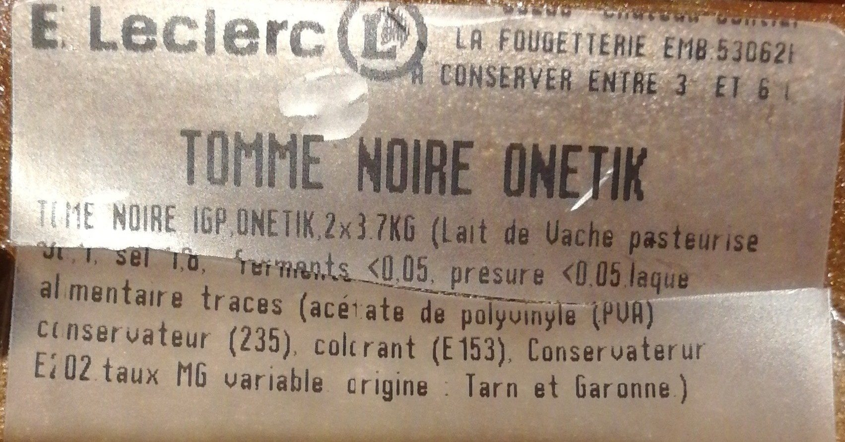 Tomme noire - Ingredienti - fr