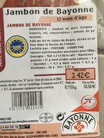Jambon de Bayonne - Ingredients - fr