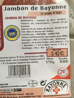 Jambon de Bayonne - Ingredients