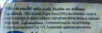 Filets de poulet rotis - Ingrédients - fr