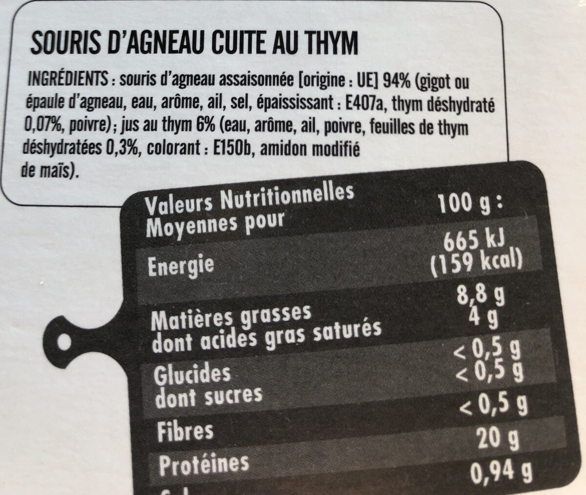 Souris d'agneau - Ingrediënten