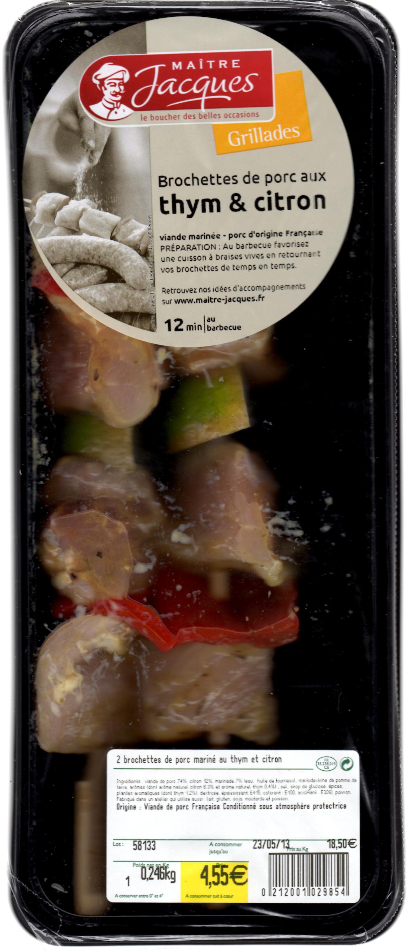 Brochettes de porc au thym et citron - Produit