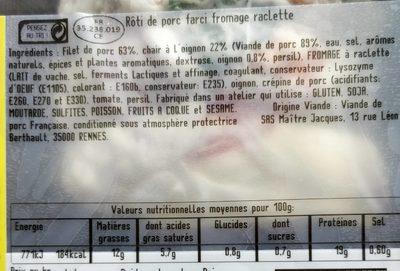 Rôti de porc à la Savoyarde - Nutrition facts - fr