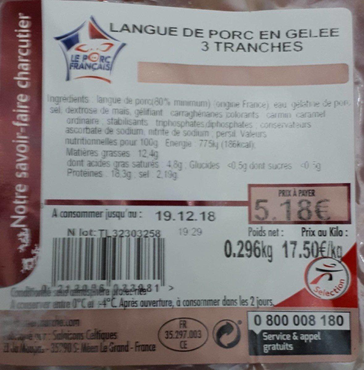 LANGUE DE PORC EN GELEE 3 TRANCHES - Product - fr