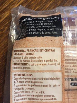 Emmental francais est-central Grand cru - Ingrédients - fr