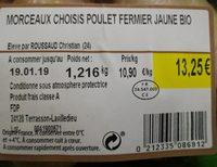Morceaux poulet fermier jaune Bio - Ingredients - fr