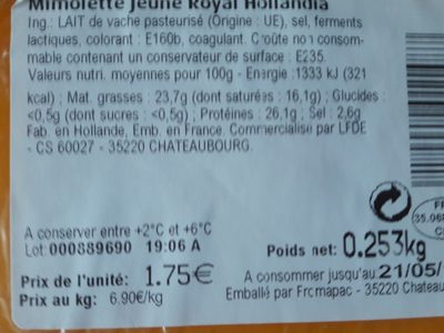 Mimolette jeune royal - Ingredients