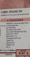 Jambon label rouge DD - Valori nutrizionali - fr