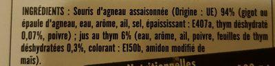 Souris d'Agneau Dorée au Four - Ingrédients - fr
