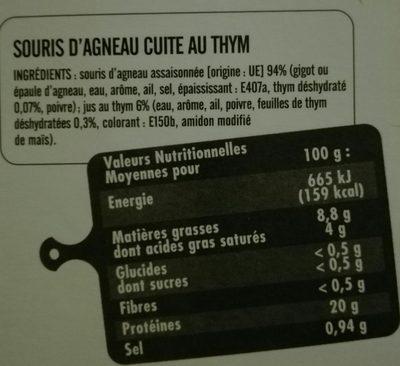 Souris d'agneau - Ingrédients
