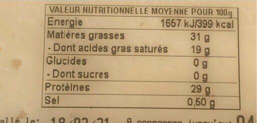 tomme de savoie - Valori nutrizionali - fr