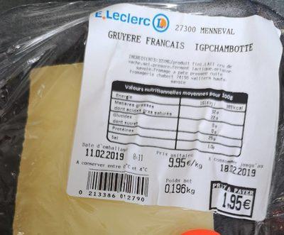 Gruyère français igpchambotte - Product